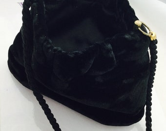 1930's Black Velvet Evening Bag