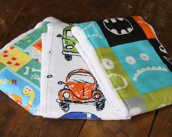 Burp Clothes, Set of 3, Soft and Super ABSORBENT, super cute prints, Flannel, Baby Boy
