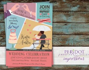 """Retro Comic Book Style Wedding Invitation 5""""x7"""""""
