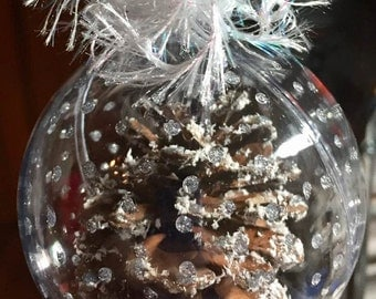 Snow-Glittered Pinecone Ornament