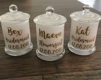 Bridal Party Soy Wax Candles | Bridesmaid | Maid Of Honour | Flower Girl | Bridesmaid Gift | Wedding Day | Soy Candle |