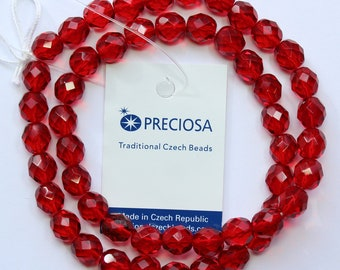 8mm Red Beads Ruby Red Preciosa Czech Glass Faceted Rounds 16 inch Strand 50 Beads