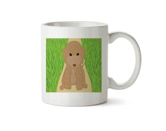 Liver Bedlington Terrier Sitting On Garden Path Mug