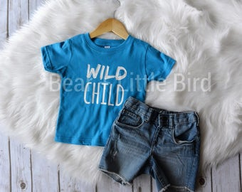 Kids Wild Child Infant or Toddler graphic t-shirt top in aqua blue and white - custom color combos available Boys or Girls