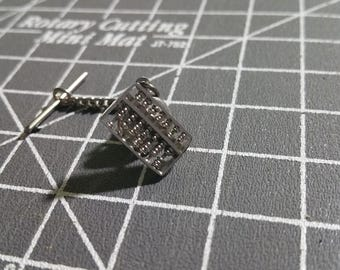 Modernist 1950's Working Tiny Sterling Silver Abacus Tie Pin Tie Tack Hallmarked HK