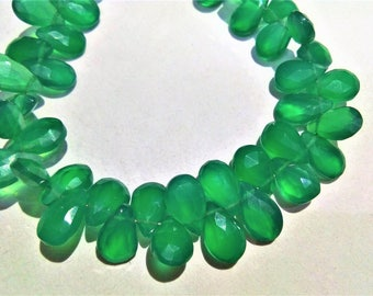 ON SALE 90ct AAA quality Green onex 6x9 to 6x10mm faceted pear shape beads, loose strand, green onex gemstone necklace jewelry