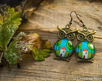 Resin Earrings with Owl - House Theme