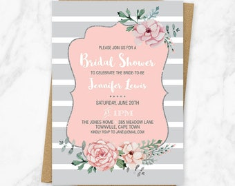 Striped Bridal Shower Invitation, Floral Striped Bridal Shower Invitation, Floral Shower Invitation, Grey Striped Invitation, Printable File