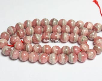 """40% Off Natural RHODOCHROSITE, 8 mm Size, Smooth Balls Beads, 16"""" Inches long Strand, +++ AAA Quality Rhodochrosite Gemstone Beads Bd#625"""