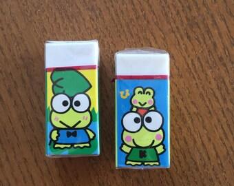 1995 kero kero keroppi erasers from sanrio  japan new old stock