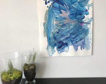 """30"""" x 22"""" Original Abstract Painting on Paper - ready to hang, no frame needed! - indiogo, royal blue, cream, pale pink"""