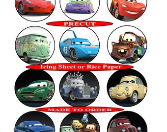 Cars pre-cut edible cupcake toppers, 2 sizes