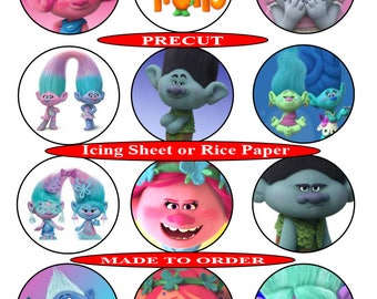 Trolls pre-cut edible  cupcake toppers, 2 sizes