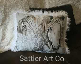 Plush faux fur and Art of Stefanie Aziere-Sattler Pillow