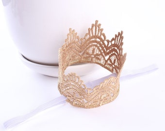 Vintage Gold Lace Crown Princess Headband