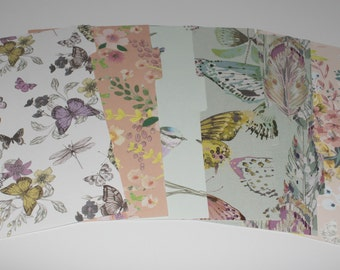Planner dividers, personal sized, side tabs, pre-punched,  Set of 6, Spring colours, butterflies, birds, choice of unlaminated or laminated.