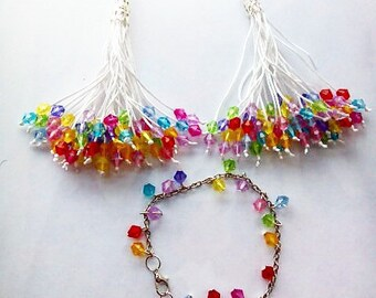 Sets of tassel with colourful beads earrings and bracelet