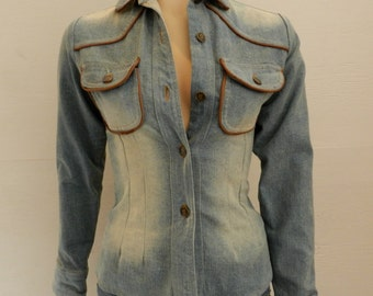 Vintage Catch A Fire Light-Blue Denim Button Up with Brown Leather Piping