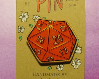 D20 Pin - Hand drawn, handmade 20-sided dice dungeons and dragons tabletop gaming art pin badge