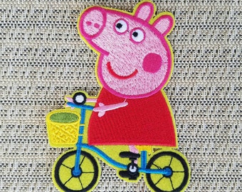 Peppa pig iron on inspired patch, Peppa pig in a bycicle inspired patch