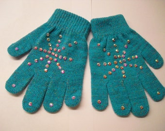 New! Beautiful Winter Hand-Stoned Gloves 1 pair (Sparkly Aqua Blue)