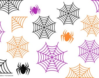 Spiders, Spiderwebs, Cobwebs  - Cute Clipart, Clip Art - Commercial Use, Instant Download