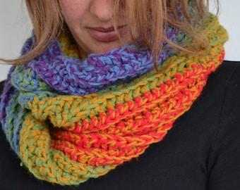 Rainbow Infinity Scarf - Chunky Crochet Scarf - Colourful Scarf - Women's Scarf - Men's Scarf