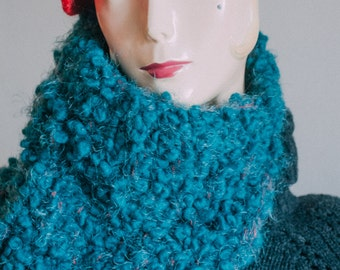 Cozy Blue Boucle Cowl with a Hint of Red, Cowl Hood, Snood