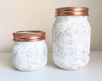 Set of 2 Silver marble effect mason/Kilner jars