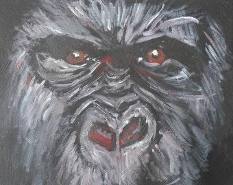 Gorilla art - red eyes - gorilla print - living room decor  - gorilla painting - wildlife print - ape art  - gorilla gift
