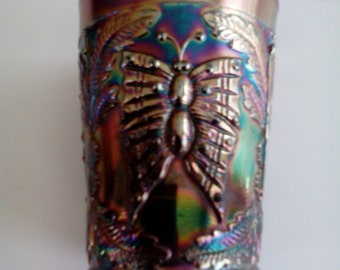 Carnival Glass Tumbler - Butterfly and Fern