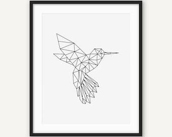 geometric bird etsy. Black Bedroom Furniture Sets. Home Design Ideas