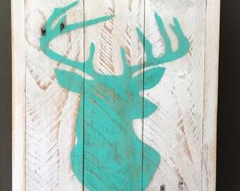 Rustic Deer Head Silhouette, palette wood sign, wood sign, rustic sign