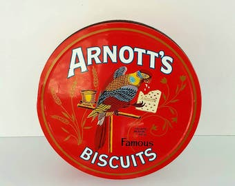 RETRO ARNOTT'S Biscuits 'Heritage' Red Parrot 450g Round Cookie Tin