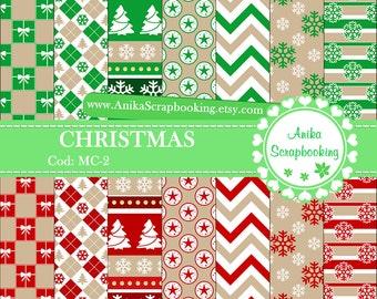 Papeles Digitales de Navidad, Papel Decorativo de Navidad, Scrapbooking, Fondos Digitales, Papel Decorado - COD: MC-2