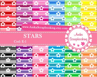 Digital Papers of Stars - Scrapbook papers-  Digital Backgrounds - Decorative paper - COD: E-1