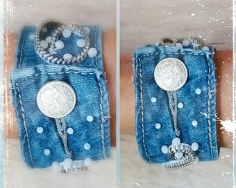 Decorated bracelets by jeans