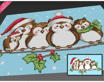 Five Christmas Owls crochet blanket pattern; c2c, cross stitch; knitting; graph; pdf download; no written counts or row-by-row instructions