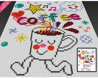 Time for Coffee crochet blanket pattern; c2c, cross stitch; knitting; graph; pdf download; no written counts or row-by-row instructions