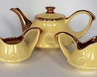 Vintage Pearl China Co. 22 Karat Gold Trimmed Yellow Tea Set (Pot, Creamer, Sugar Bowl)