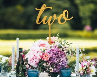 Wedding table numbers with the stick - non-free standing - Silver wedding table numbers - Table Number