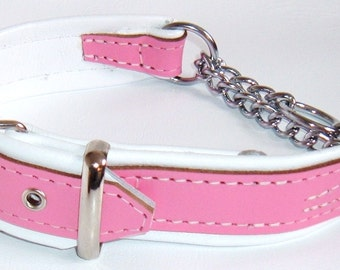 Pink and White leather Martingale dog collar with White Stitching