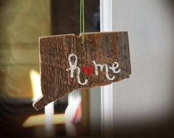 Rustic Connecticut Ornament - Custom Connecticut Ornament - Handmade Wood Ornament - Connecticut Ornament - Christmas Connecticut