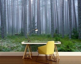 forest WALL MURAL, trees wall mural, fog forest mural, forest mural, self-adhesive, pine wall, vinl wall mural, forest wallpaper, wall decal