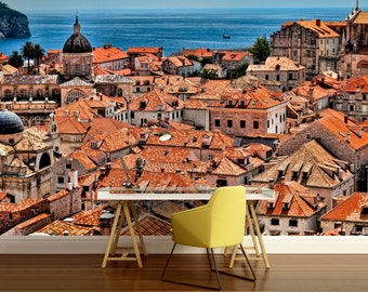 city WALL MURAL, old city wall mural, old city wallpaper, Dubrovnik wall mural, city wall decal, Dubrovnik wall paper, bridge wall mural