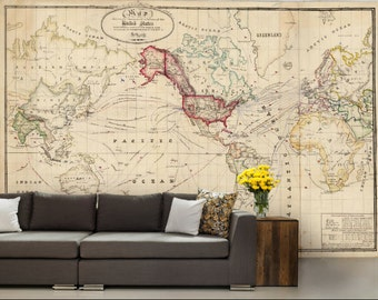 old world map wallpaper, old map wall mural, united states map wallpaper, world map wall decal, antique world map, map wallpaper, map mural
