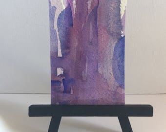 ACEO original, ATC watercolor, Purple abstract painting, artist trading card, Modern Art series mini art, Contemporary desk art