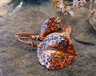 Hamared copper earrings, Leaf earrings, Verdigris earrings, Copper jewelry, Dangle & Drop earrings