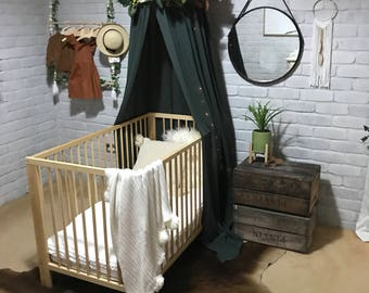 Canopy or tent in Deep green for baby crib or kids bed, use as cot canopy, crib canopy, bed canopies or as a reading nook. Nursery decor.