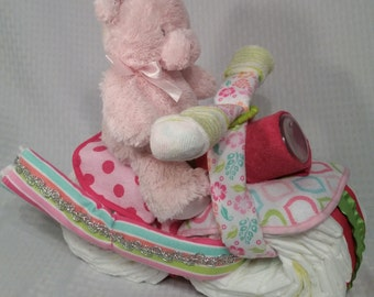 Baby Girl Diaper Motorcycle, GIft for Baby Shower, Bright pink and green